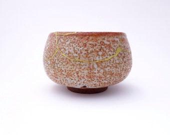 Extensive Kintsugi Repair on Ceramic Tea Bowl with Shino - Japanese Kintsukuroi Pottery - PP-TB-664