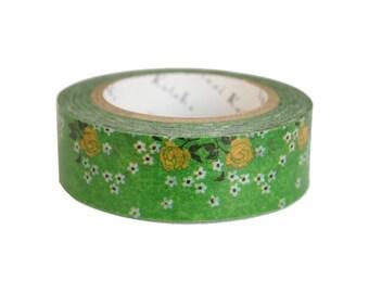 Shinzi Katoh washi tape - green floral masking tape - Flower 7