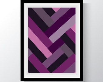 Digital Print, Purple Lines, Stripes, Wall Art, Printable Art, Abstract print, Geometric Art, Abstract, Pattern, Shades of Purple,