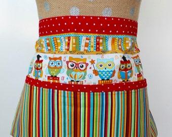 Teacher Apron, Utility Apron, Vendor Apron, 4 pocket Apron, Childcare Worker Apron, Wise Owl, Primary Stripes, Teacher Gift