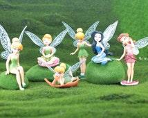 1 set of 6 Fairies, Terrarium Miniature Figurine, Fairy Garden Tiny People Figure Cute lovely Mini Accessory Toy Gift For daughter