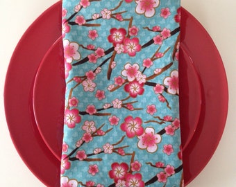 Cherry Blossom Cloth Napkins; Dinner Napkins