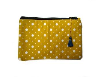 Yellow polka dot Coin Purse, Small Pouch, Little Gadget Case, Padded, Card Pouch, Zipper Wallet, polka dot