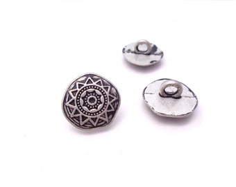 "Jewelry Clasp - 3 - Star Sun Metal Buttons with Shank  5/8"" (16mm)"
