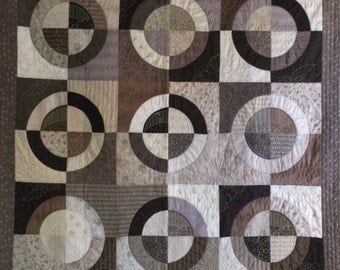 Taupe Circles Quilted Wall Hanging