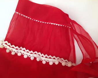 Vintage 1950s Christmas Apron, Red Apron, Christmas Kitsch, Christmas Apparel, Hostess Apron, Christmas Decorating