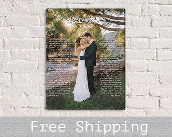 Wedding Vows Canvas - Wedding song Liryc art - 1st Anniversary Gift - Anniversary Gift - Custom Canvas Print - Free Shipping