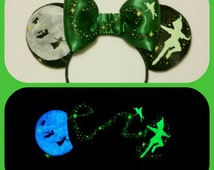 Glow in the Dark Peter Pan Ears, plush Peter Pan Mickey Ears, Mouse ears, Hand painted Disney Ears, Personalized Mouse Ears