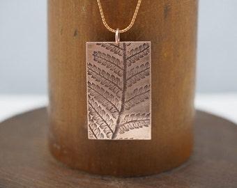 Fern Copper Pendant