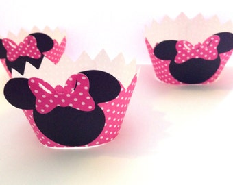 12 Minnie Mouse Cupcake Wrappers - Minnie Mouse Birthday - Minnie Mouse Baby Shower - Minnie Mouse Party Decorations - Minnie Mouse Party