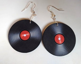 Vinyl record earrings, vinyl decoupage earrings, retro earrings, gramophone earrings, retro vinyl, music earrings, big vinyl earrings