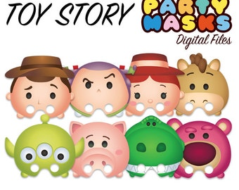 8 Tsum Tsum Toy Story Party Theme Digital Birthday Mask Favors
