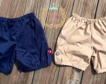 Uniform Bubble Shorts Khaki Navy Blue Button Tab girl back to school shorts kindergarten 2nd grade 1st grade 3rd grade