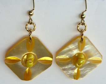 Square Mother-Of-Pearl Vintage Button Earrings