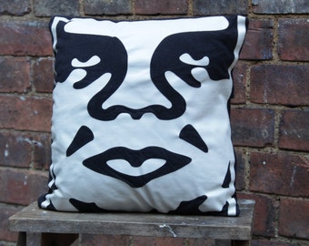 Handmade Obey Skater Cushion Upcycled Cotton 12x12 Home Decor