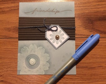 Blue and Brown Floral Friendship Card