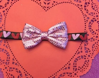 Valentines day bow headband on heart elastic