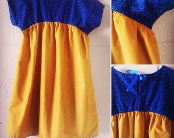 girls dress in mustard and royal/navy blue