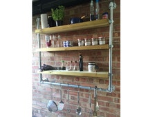 Wall Hung Industrial Style Shelving (With Rail Below)