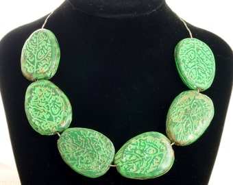 Green Handmade Chunky Unique Necklace made of polymer clay Statement necklace Monochrome, bib necklace