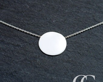Sterling Silver Polished Disc Necklace ENGRAVE PERSONALISE