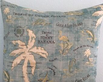 Beach Pillow Cover-Island Print Fabric-Outdoor Pillow-Tropical Pillow-Nautical Pillow-Coastal Pillow-Lake Pillow