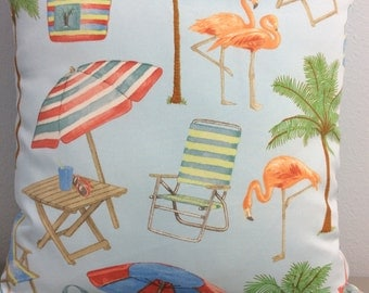 Tropical Pillow Cover-Beach Pillow-Boat Pillow-Indoor/Outdoor Pillow-Coastal Pillow-Lake Pillow-Flamingo Pillow-Nautical Pillow-Palm Trees