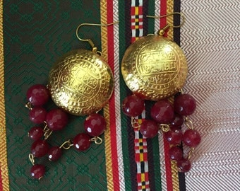 Khadija Tunisian coins ruby glass earrings
