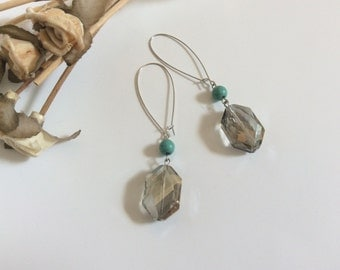 Large iridescent jewel earrings