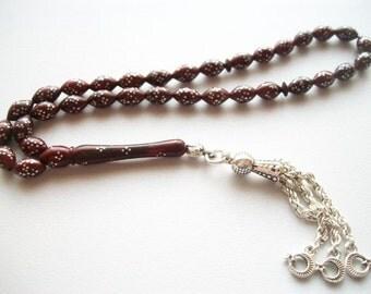 33 Count 6x9mm Kuka Wood Special Inlaid Prayer Beads Tasbih Tesbih Rosary FREE SHIPPING