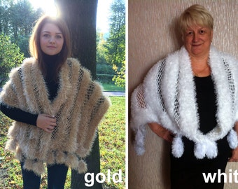 Handmade Knit Croched Wrap in Gold and White Wedding wrap Wedding shawl