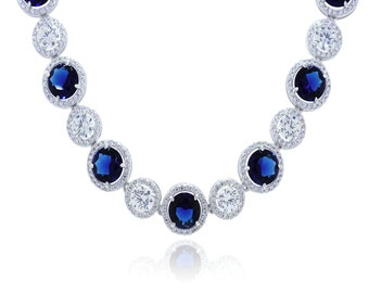 925 Sterling Silver Clear CZ Sapphire Necklace 14.39 CT.TW(S157)
