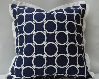 Decorative Pillow Navy and White Circles