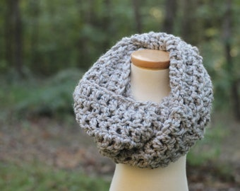 Crochet Chunky Infinity Scarf in Grey Marble
