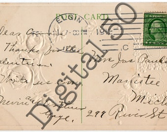 Postcard Back 1913 Digital Download