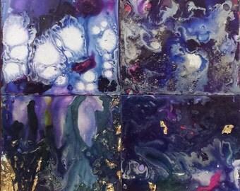 Quartet galactique_groupe of 4 paintings acrylique_peinture versee_poured blue paint_tons and mauve_16 'x 16'