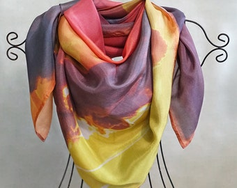 ON SALE Sunset Silk Scarf Gift For Her Women's Scarves Fashion Scarf Unique Accessories