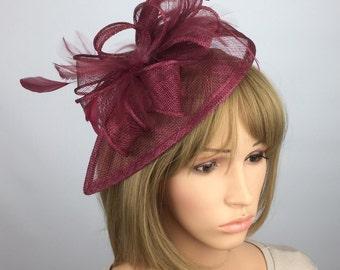 burgundy Fascinator maroon claret red Fascinator Sinamay Fascinator wedding mother bride Ladies Day & Ascot races, occasion event