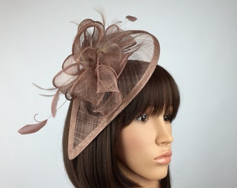 Wheat brown Fascinator Mocca Brown and Feather Fascinator on a hairband, races, weddings, special occasions, formal wear