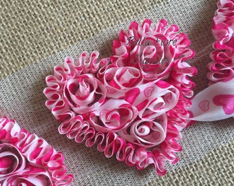 Hot Pink Shabby Chiffon Hearts -Valentines Day Shabby- Red Pink White Heart Shabby- 3 inch- Shabby Chiffon Flowers- Wholesale-