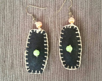 Handmade felt and bead earrings