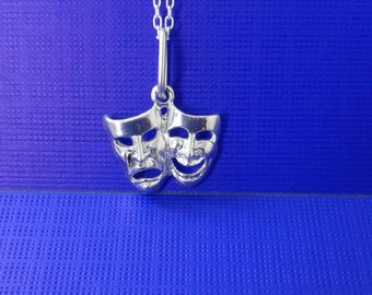 925 sterlign Silver Mask comedy tragedy charm /925sterling silver chain/925sterling silver mask   comedy  tragedy  pendant/silver jewelry