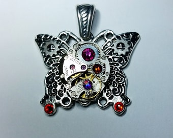 Steampunk Butterfly Pendant with Swarovski Crystals