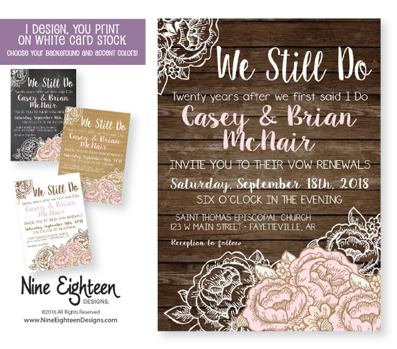 Vow Renewal invitation PDF JPG by