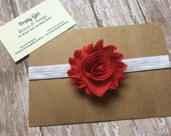 Red shabby flower headband