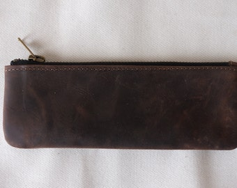 leather Pencil Case / real leather / Small Pouch