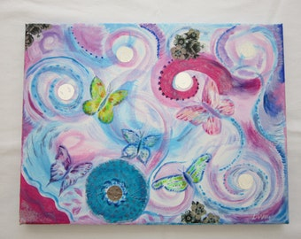 Butterfly mixed media dream painting