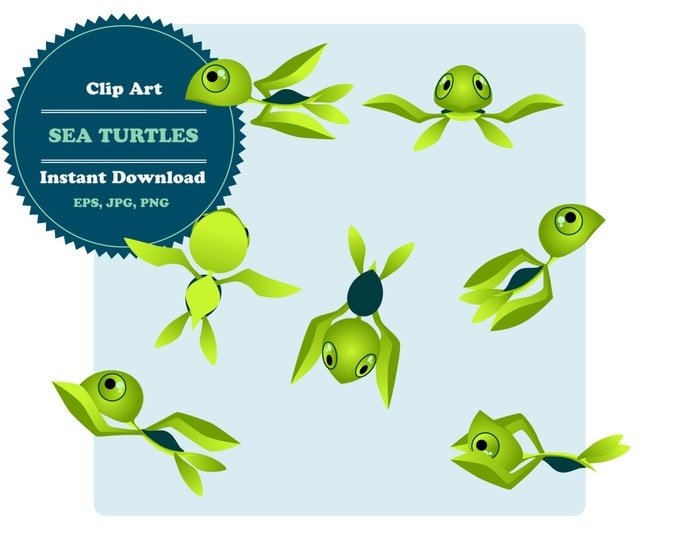 Turtles Сlipart, Sea Animal Clipart, Pets Сlipart, Clipart Set, Sticker, Scrapbooking, Instant Download, JPG, PNG, EPS
