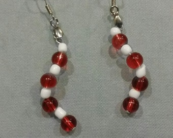 Red and White Beaded Loose Spiral Dangle Earrings