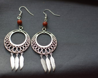 Earrings, red Jasper beads and feathers metal